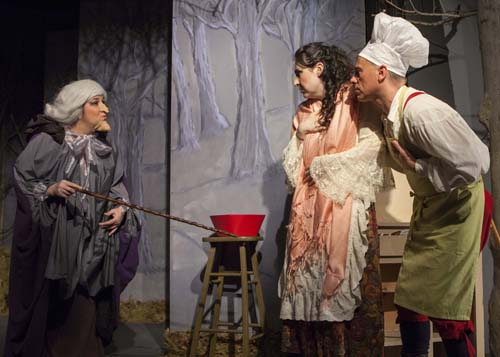 "Alexis Monetti (from left), Kristen Alestra and Matt Senese in a scene from ""Into the Woods"" at North Fork Community Theatre in Mattituck. (Credit: Katharine Schroeder)"