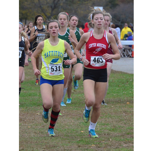 Mattituck sophomore Melanie Pfennig was the top finisher for the Tuckers Friday in the state qualifier. (Credit: Robert O'Rourk)