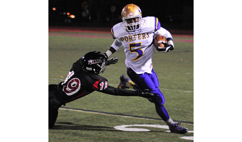 BILL LANDON PHOTO | Greenport/Southold/Mattituck's Gene Allen tries to run around Mount Sinai's Griffin McGrath during Friday night's playoff game.