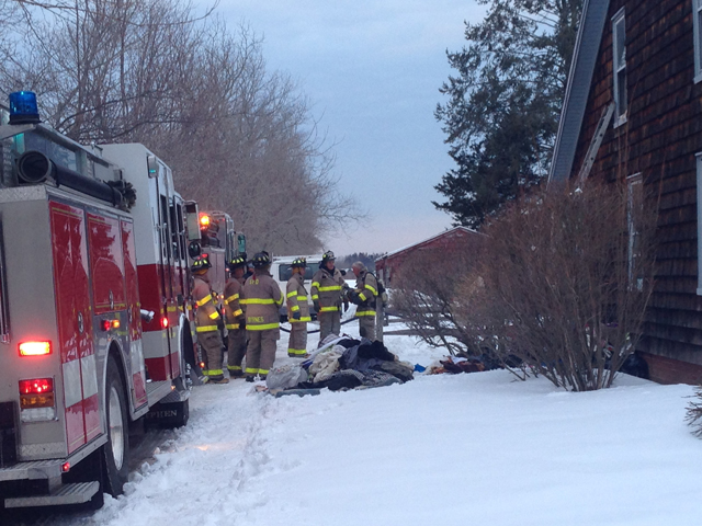 The Southold Fire Department on scene of a house fire Saturday afternoon. (Credit: Joe Werkmeister)