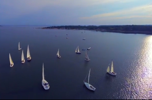Andrew James Productions in Mattituck used a drone to capture this unique view of the Wednesday night sailboat races around Robins Island.