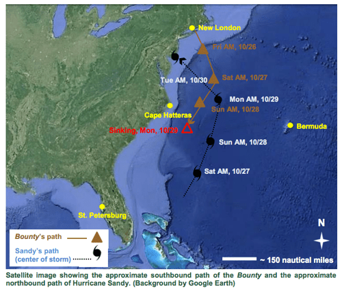 COURTESY MAP | A National Transportation Safety Board accident report map shows the last voyage of the Bounty.