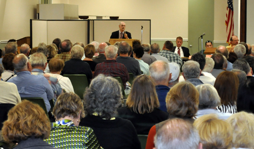 GRANT PARPAN PHOTO | Dr. Robert Walsh of Eastern Long Island Hospital speaks to a full house at the Southold Town Deer Forum at the recreation center in Peconic Thursday evening.