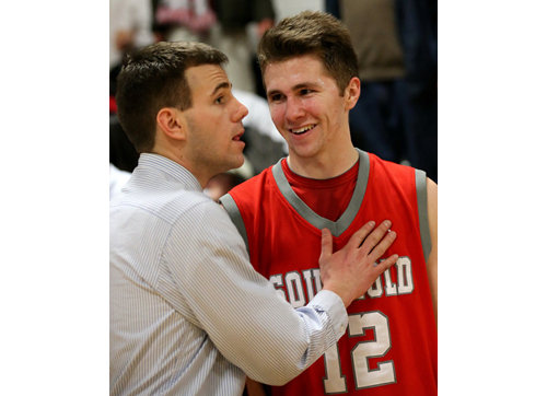 Pierson coach Dan White consoles Southold senior Liam Walker following Walker's final game for the First Settlers. (Credit: Garret Meade)