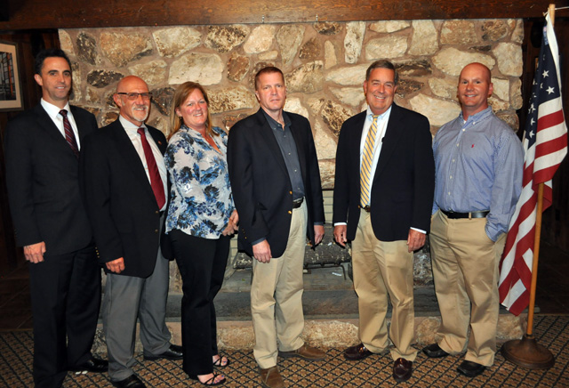 Southold Town Republican Committee chairman Peter McGreevy, left, with candidates Richard Caggiano, Jill Doherty, Scott Russell, Dave Bergen and Glenn Goldsmith. (Credit: Grant Parpan)