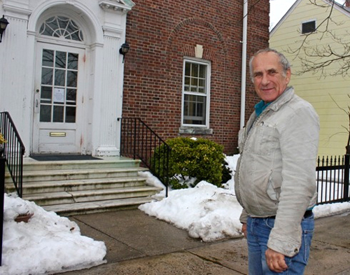 BETH YOUNG PHOTO | William Swiskey outside Greenport Village Hall Monday.
