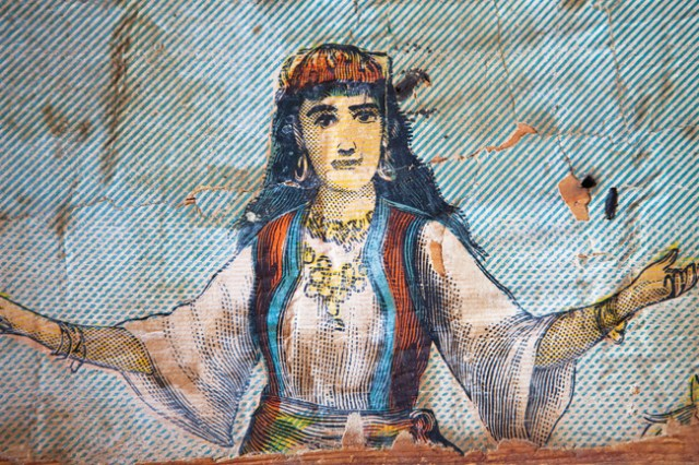 A circus gypsy, as depicted in the 1891 billboards. (Credit: Katharine Schroeder)