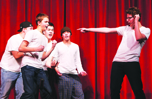 The Backstreet Adolescents — Jack Davidson (from left), Preston Jolliver, Will Fujita, Griffin Quist and Sam Kortchmar — perform a Backstreet Boys parody Friday night for a talent show and concert that raised funds for Southold High School's junior-senior prom. The Long Island-based rock band GRECO performed several sets along with the talent showcase.