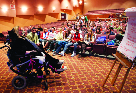 Kim Haeg speaks to students at Southold High School on Monday morning.