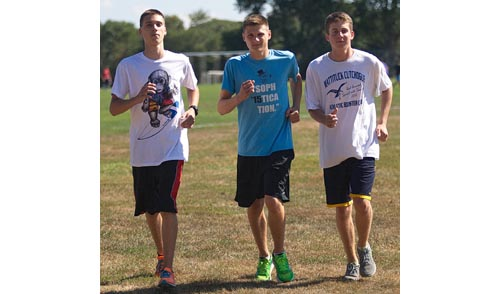 From left, Jeremy Rempe, Jon Rempe and Owen Klipstein are among the leading runners for a Southold team that is making a run at county and league titles. (Credit: Garret Meade)