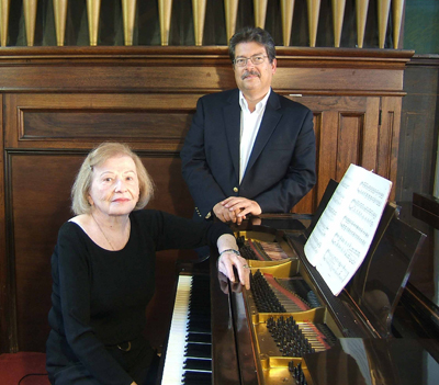 Pianists Charlotte Day and Jeffrey Wentz (pictured), along with cellist Ted Hoyle, perform Sunday at 4 p.m. at First Universalist Church of Southold.