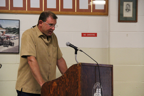 CARRIE MILLER PHOTO | Greenport landlord Robert Jarosak spoke out against the proposed rental law Monday.