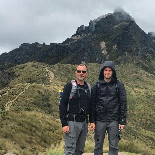 Mark Miller (left) and his son Evan standing on Mount Rucu Pichincha in Ecuador.  (Credit: Mark Miller)