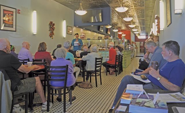 Poetry lovers gathered at Blue Duck Bakery in Riverhead Sunday for Poetry Street. (Credit: Krysten Massa)