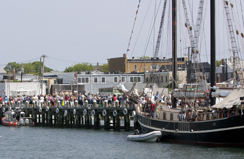 KATHARINE SCHROEDER FILE PHOTO | A long line to board one of the ships at this year's Tall Ships of America event.