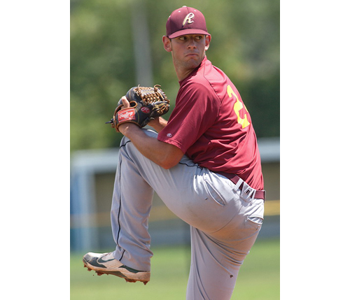 GARRET MEADE PHOTO | Mike Dolce had a no-hitter going for the Riverhead Tomcats before surrendering a single to the North Fork Ospreys in the seventh inning.