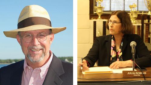 Former Greenport Village Mayor Dave Kapell, left, and Trustee Julia Robins.