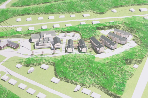 An arists rendering of the church and community center.