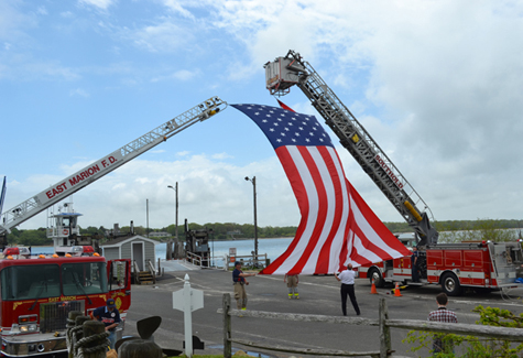 A flag was raised over the entrance from the South Ferry on Shelter Island Thursday in anticipation of the Banshee Troop arrival.