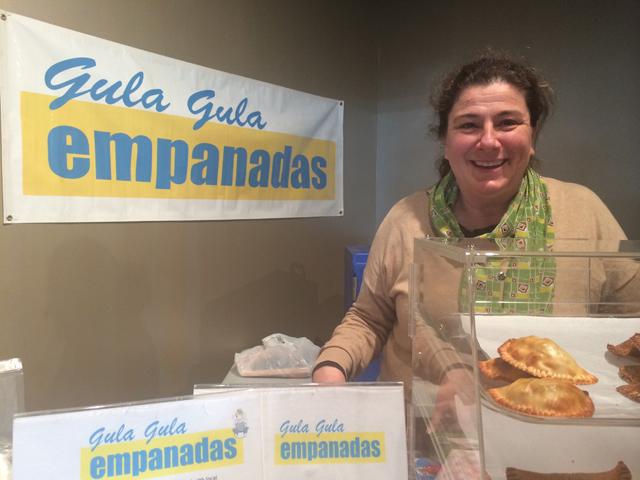 Luchi Masliah of Gula Gula Empanads at the Riverhead Farmers Market on Saturday. (Credit: Vera Chinese)