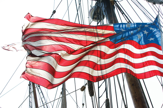 An American flag aboard one of the featured Tall Ships in Greenport's 2012 festival. (Credit: Katharine Schroeder)