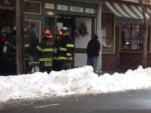 CYNDI MURRAY PHOTO   Greenport Fire Department volunteers were on scene for a gas leak early Sunday afternoon.