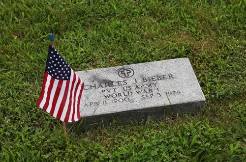 The headstone of a Word War I vet from the North Fork on Memorial Day in 2011. (Credit: Katharine Schroeder, file)