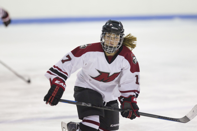 Sarah Sinning of Peconic recently finished her freshman season at Manhattanville College. She's currently playing roller hockey at a world championship tournament in Argentina. (Credit: Manhattanville Athletics)