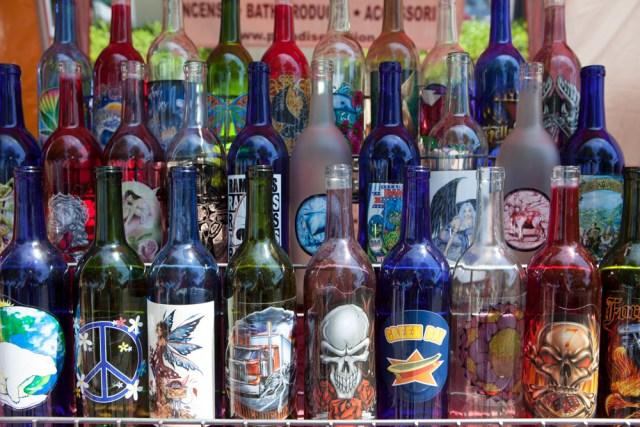 Decorated wine bottles for sale. (Credit: Katharine Schroeder)