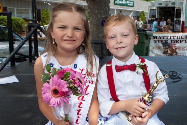 Little Miss Mattituck Julie Bodenstein, 6, with Little Mr. Mattituck, Ryan Harned, 6. (Credit: Katharine Schroeder)