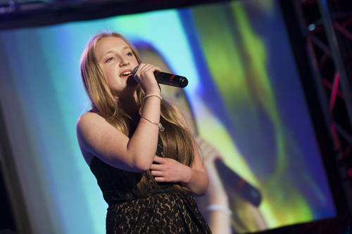 "Taylor Larsen sings ""I Have Nothing"" at Friday's Mattituck's Got Talent show. (Credit: Katharine Schroeder)"