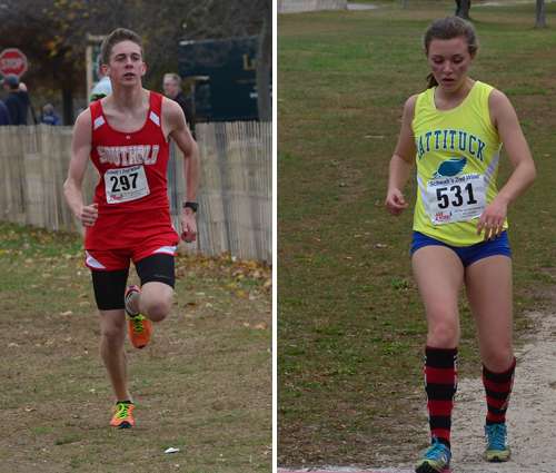 Southold's Owen Klipstein and Mattituck's Melanie Pfennig, pictured at last week's state qualifier, were the top finishers for their teams at Saturday's state championship. (Credit: Robert O'Rourk)