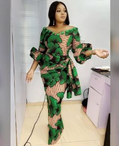 trending ankara gown with short wrapper style