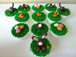 Easter cupcakes - bunnies, grass, eggs and carrots