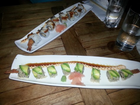 Top: Black Dragon roll; Below: Dragon roll