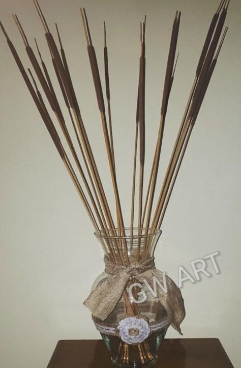 Large Vase embelished with Burlap & Lace - SOLD