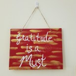 'GRATITUDE' Wooden hanging sign