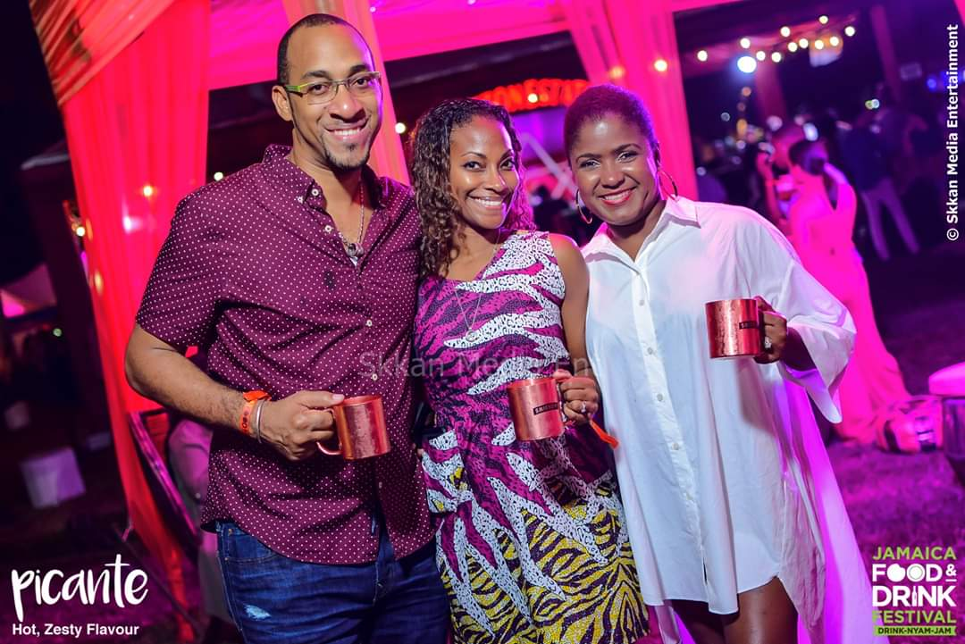Randolph Burgess and wife Gabrielle a.k.a Suga with Jhanielle Laing at Jamaica Food and Drink Festival's Picante last year.