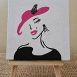 'LADY CHIC' Acrylic on (4×4)'' Canvas Tabletop/Desktop with Easel PRICE: $1500JMD