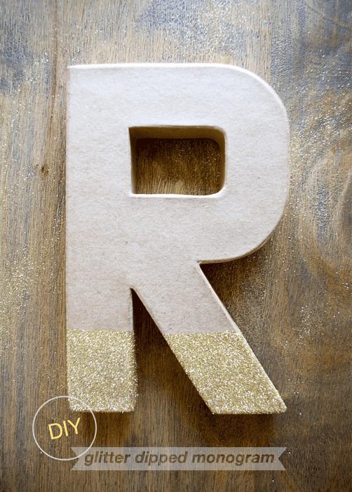 DIY glitter dipped monogram wreath