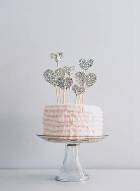DIY glitter heart cake topper wedding