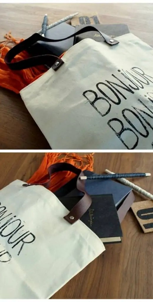 DIY Leather & Stamped Tote Bag - Sugar & Cloth - Houston Blogger - DIY
