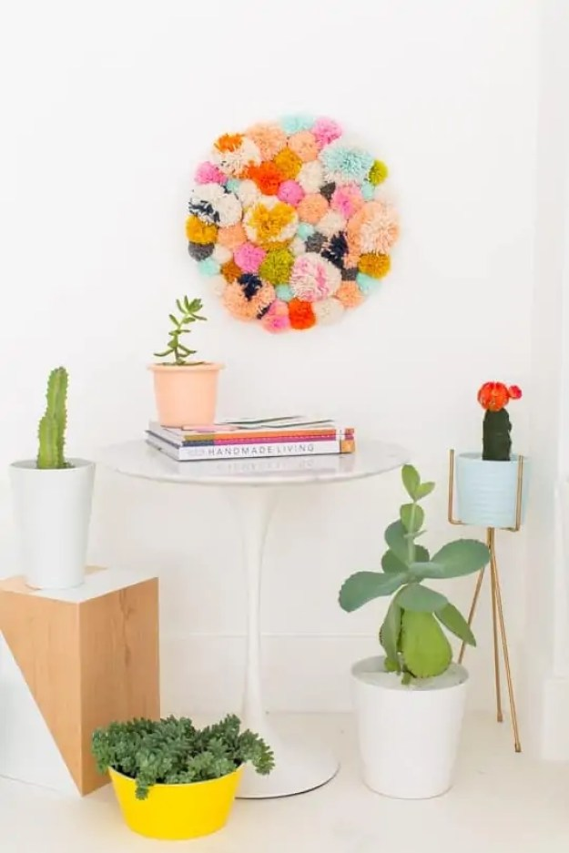 DIY pom pom wall hang, Pom pom crafts,