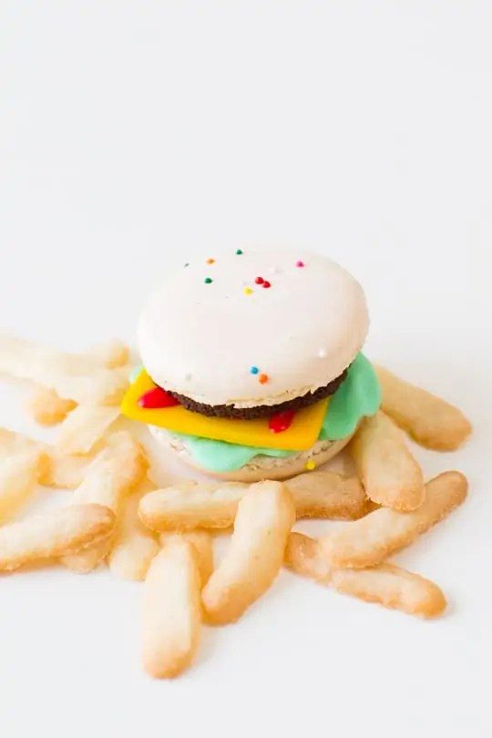 DIY Mini Macaron Cheeseburgers and Fries | Sugar & Cloth