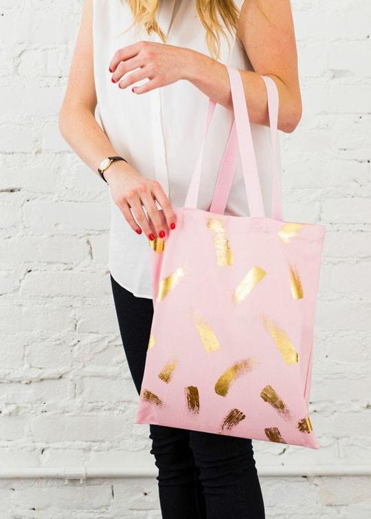 DIY gold foil brushstroke tote bag kit | sugar & cloth