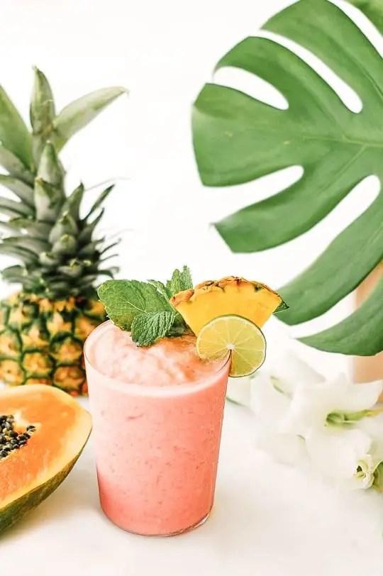 watermelon papaya rum smoothie - sugar & cloth