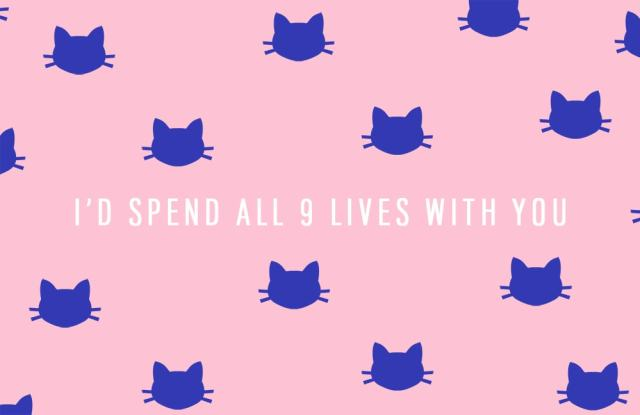 I'd spend all 9 lives with you - DIY funny printable Valentine's cards - sugar and cloth
