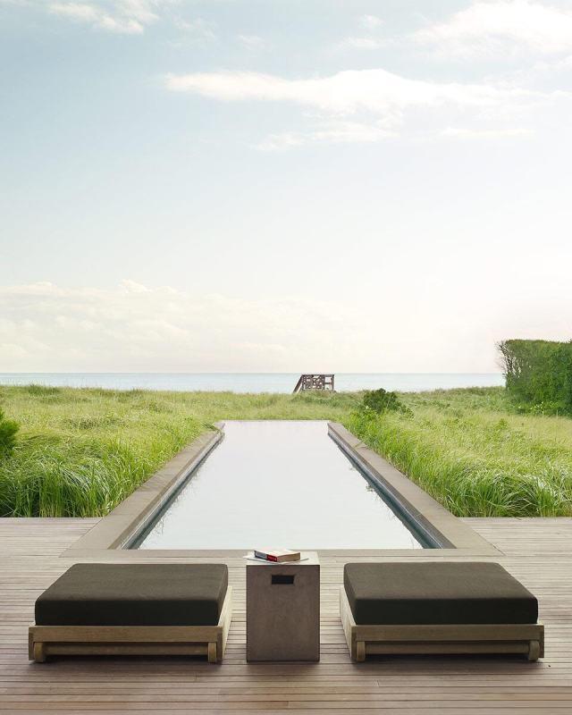 A cool and modern hamptons pool