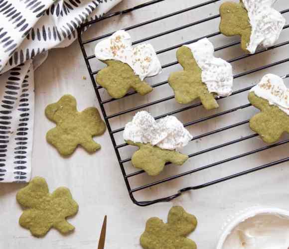 White Chocolate Shamrock Matcha Cookies