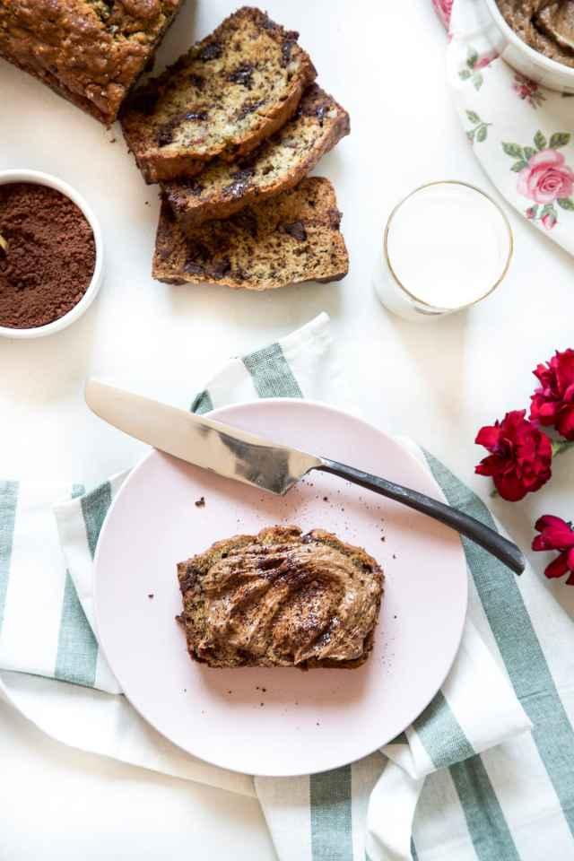 Banana Bread with Whipped Mocha Mascarpone by Sugar & Cloth, an award winning DIY, recipes, and home decor blog.